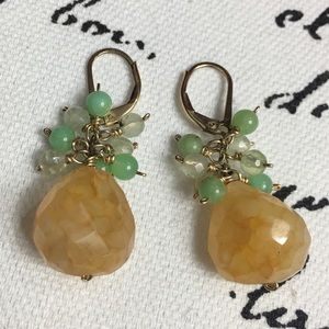 Stone and 1/20 GF dangling earrings